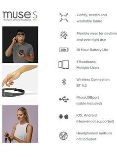 ($349.99) MUSE S: The Brain Sensing Headband - Overnight Sleep Tracker & Meditation Headset Device - Multi Sensor Monitor with Responsive Sound Feedback Guidance from Brain Wave, Heart, Body & Breath Activity