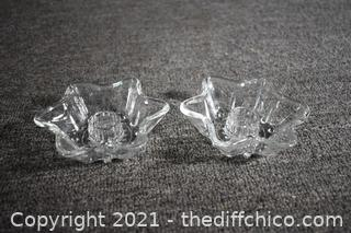 Pair of Glass Candle Holders