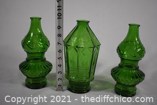 3 Pieces of Green Glass Ware