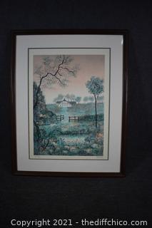 Signed Lithograph Country Farm by Rivera w/COA 7/50