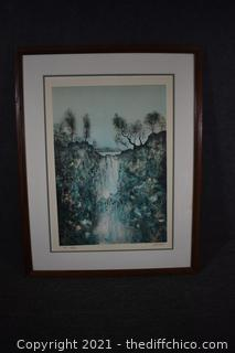 Framed Signed Waterfall Lithograph by Rivera #12/50