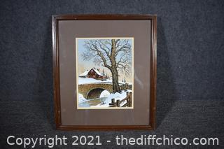 Framed Signe print winter Bridge w/COA