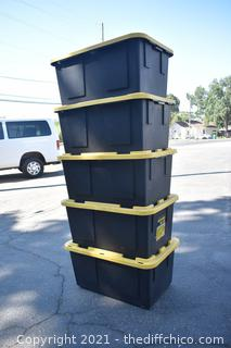 5 Totes w/Lids-27 gallon
