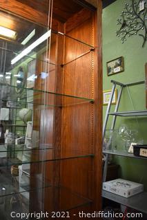 Large Oak Glass Display Cabinet w/8 adjustable glass shelves