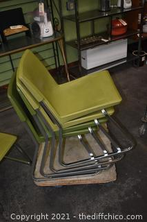 4 Vintage Stackable Chairs