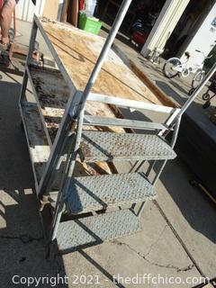 """Rolling Metal Shelf With Ladder 36"""" x 24 1/2"""" x 64"""" with ladder"""