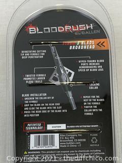 NEW 3-pack - Allen Bloodrush Fixed Blade Broadheads w/Twisted Ferrule 100 Grain