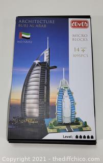 Burj El Arab Micro Block Set with 1095 Bricks *OPEN BOX PIECES NOT COUNTED*