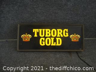 """Light Up Beer Sign TUBORG GOLD WKS 23 1/2"""" x 10"""" x 4 1/4"""""""