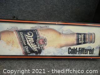 "Light Up Miller Genuine Draft Beer Sign needs wk 49 1/2"" x 9"" x 4"""