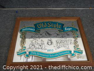 """Old Style Beer Mirror 19 3/4"""" x 14 """""""