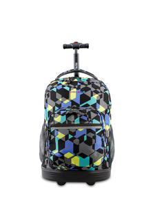 "($55.99) NEW J World 18"" Sunrise Rolling Backpack"