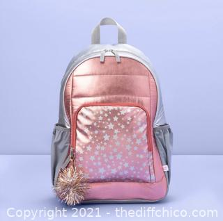 """NEW 16.5"""" Kids' Backpack Rose Gold with Star Print"""