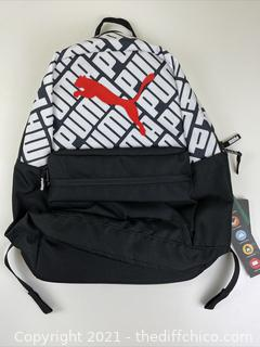 """NEW Puma Text Book Backpack 18.5"""" Black White Red Logo"""