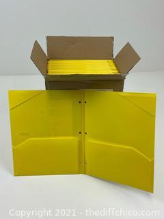 NEW CASE OF 24 - Five Star 2 Pocket Plastic Folder - YELLOW - ($1.99ea)