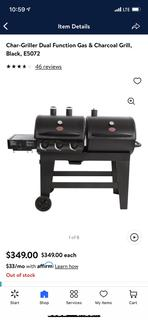 NEW ($349) Char-Griller Dual Function Gas & Charcoal Grill, Black, E5072