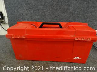 Red Tool Box With Leather Making Stuff