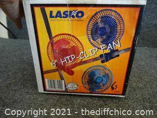"""Lasko 6"""" Clip Fan NIB"""