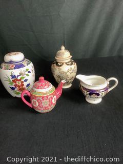 VINTAGE ASIAN VASE, MINI TEAPOT & CREAMER LOT! JAPAN & CHINA!  BEAUTIFUL PIECES - 4 PIECE LOT