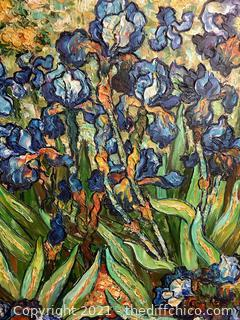 FIELD OF IRIS FRAMED OIL ON CANVAS PAINTING!  FRAMED! SIGNED!