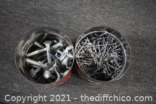 2 Cans full of Nuts, Bolts and Nails