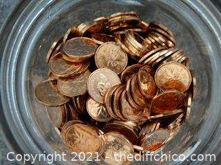Jar Of Canadian Pennies