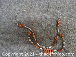 Silver & Brown  Stone Necklace