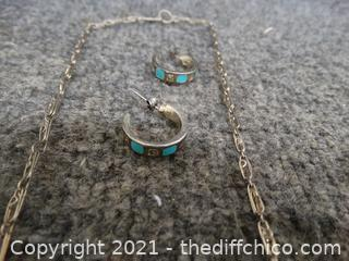 925 0.835 Oz Silver &Turquois Necklace  & Earrings