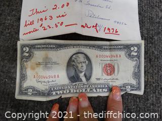 1963 Red Seal 2 Dollar Bill