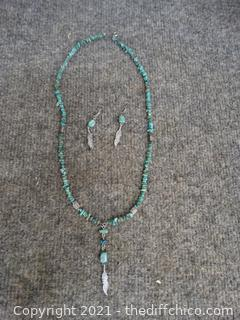 Silver & Jade Necklace & Earrings From Russia