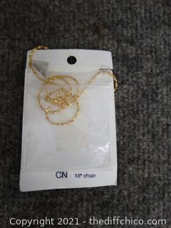 """18"""" Real Cone Rocky Mountains 24kt Gold  Finish Necklace"""