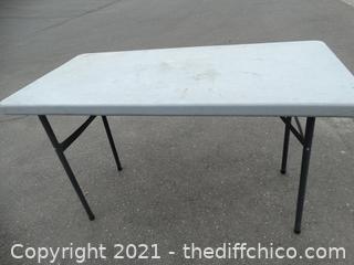 "Fold up Plastic Table 39 1/2"" x  471/2""  x 23 1/2"""