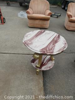 """Marble Top End Table 23 1/2"""" x 22"""" x22"""" Top Needs Glued Down"""
