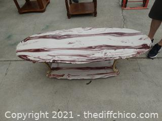 """Marble Top Coffee  Table 18 1/2""""  x 61 x 25 """" """" Top Needs Glued Down"""