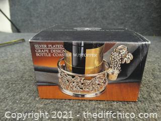 NIB Silver Plated Grape Design Bottle Coaster