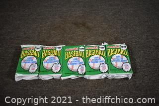 5Pkg NIB 1991 Baseball Trading Cards