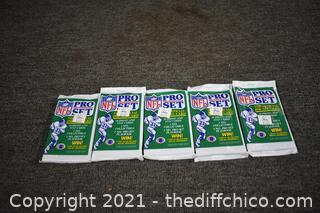 5Pkg NIB 1990 NFL Trading Cards