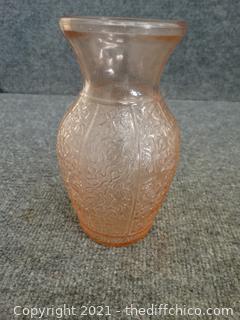 Light Pink Depression Glass Vase
