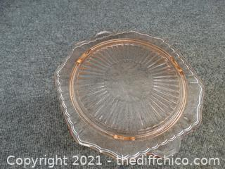 Light Pink Depression Glass Serving Plate