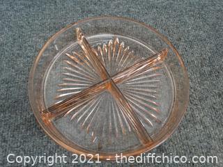 Vintage Depression Divided  Glass Dish