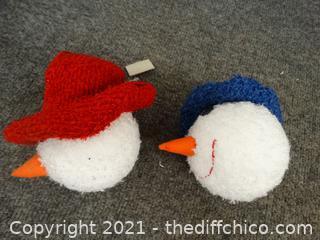 2 Snowman Head Ornaments