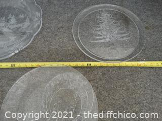 Glass Christmas Platters