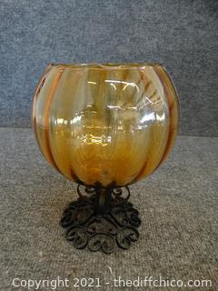 Vintage Amber Wrought Iron Base Bowl