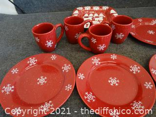 Four Star Stone Ware Christmas Dishes