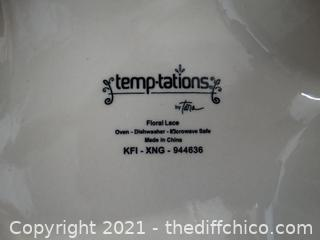 Temptations By Tara Floral Lace Oven, Dishwasher Safe, Microwave