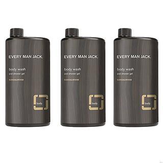 Every Man Jack Sandal Wood Body Wash Shower Gel 3 bottles, 16.9 Fl Oz each