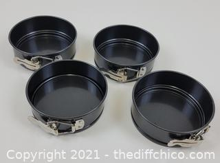 4-Inch Springform Cake Pan Set - Pack Of 4 4.5in Round Steel Baking Pans, Small Spring Form Nonstick Tin With Leakproof Removable Metal Bottom For Four Inch Smash Cake, Individual Pie, Mini Cheesecake