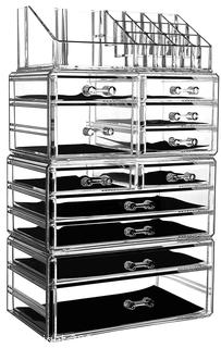 NEW Large Clear Makeup Organizer Skin Care Cosmetic Display Cases Stackable Storage Box Make up Container Cube With 11 Drawers,Set of 4 By Cq acrylic
