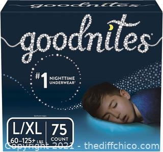 NEW 3-PACK of 25ct Goodnites Bedwetting Underwear for Boys, L/XL, (75 Ct Total), Stock Up Pack