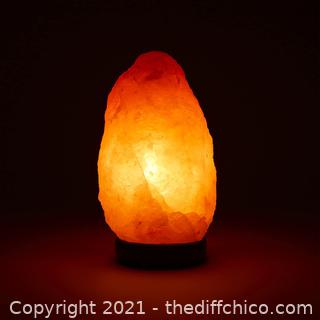 """Himalayan Salt Lamp 6-8"""" (4-7 lb) with Dimmer Switch - All Natural and Handcrafted with Wooden Base"""